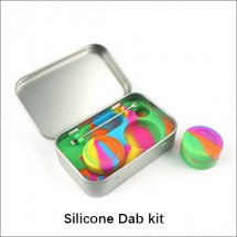 Silicone Dab kit Stainless Steel Thin Can carrying case with wax Jars Wax tools dabber tools With Dabbing Tool