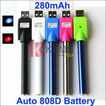 280mah AUTO 808D Battery with Wireless USB Charger for e-Cigs Auto KR808D battery with Diamond in the Bottom