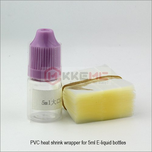 Transparent PVC Heat Shrink wrappers for 5ml E-liquid Platic Bottles