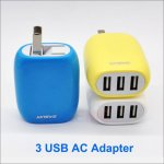 3 USB Ports Wall AC Adapter 5V 1A /2.1A /3.1A USB AC Charger Travel Convenient Power Adapter for e-Cigarettes