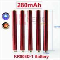Red 280mAh KR808D battery with diamond for Kanger 808d-1 DSE901 Auto Ecigarettes Mini KR808D-1 Battery