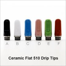 Ceramic Flat 510 Drip Tips 6 Colors