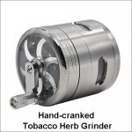 4 Parts Zinc Alloy Hand Cranked Tobacco Herb Grinder With Side Window