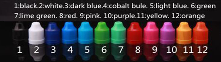 e-liquid dropper bottle caps color