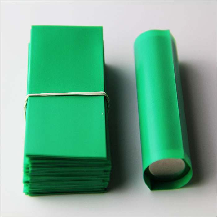 Green-18650 Battery PVC heat shrink wrapper for short circuit protection